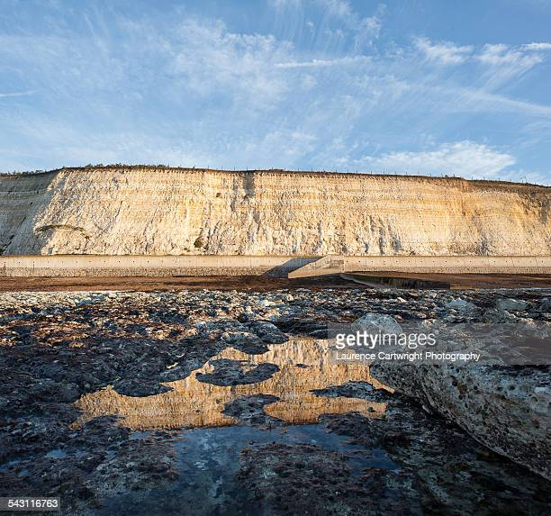 chalk cliffs at saltdean near brighton - saltdean stock pictures, royalty-free photos & images