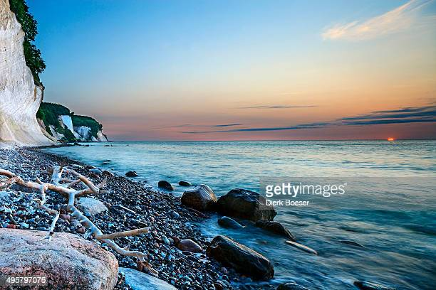 Chalk cliffs at sunrise, Sassnitz, Rugen, Mecklenburg-Western Pomerania, Germany