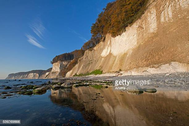 Chalk cliffs in Jasmund National Park on Rugen Island on the Baltic Sea Germany