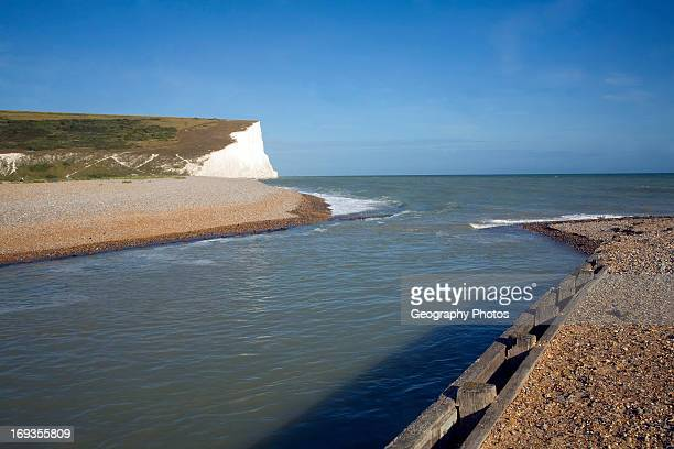 Chalk cliffs of the Seven Sisters from Cuckmere river mouth East Sussex England
