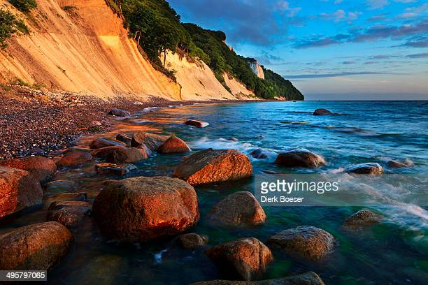 Chalk cliffs with the Koenigsstuhl cliff in the early morning, Sassnitz, Rugen, Mecklenburg-Western Pomerania, Germany