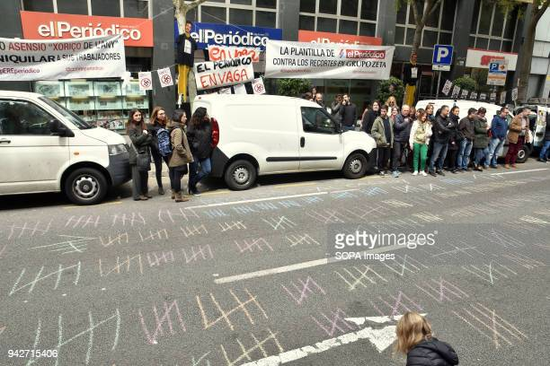 177 chalk line seen on the road for each of the dismissal of the newspaper organization Workers of El Periodico de Cataluña newspaper has been on...