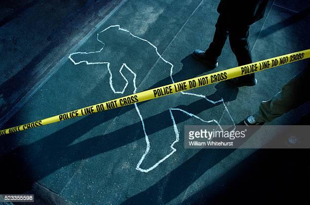 Chalk Outline at Police Crime Scene