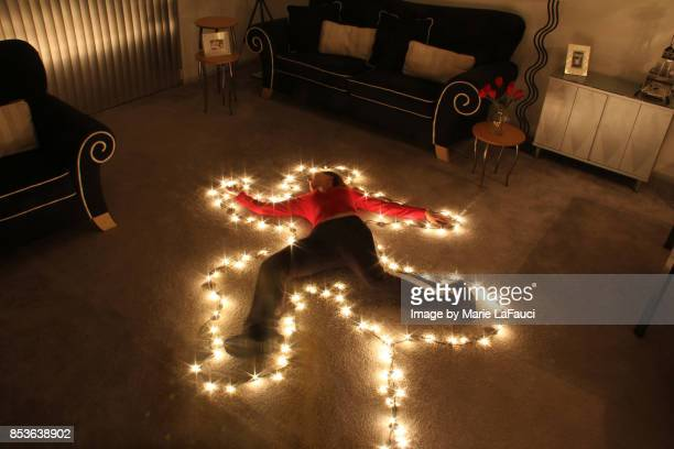 Chalk outline Christmas lights in the dark