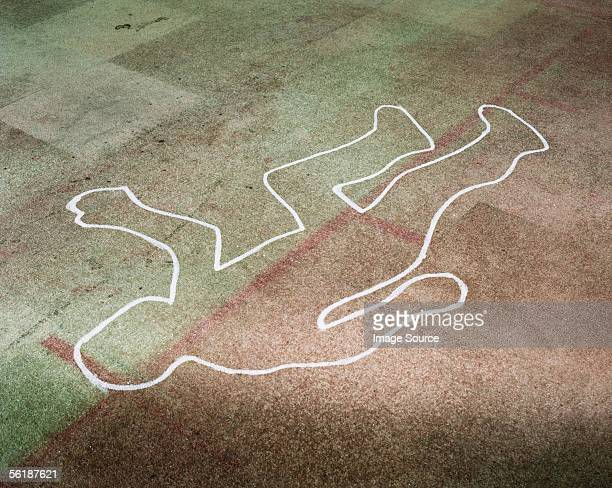 chalk outline of a body - cadavre photos et images de collection