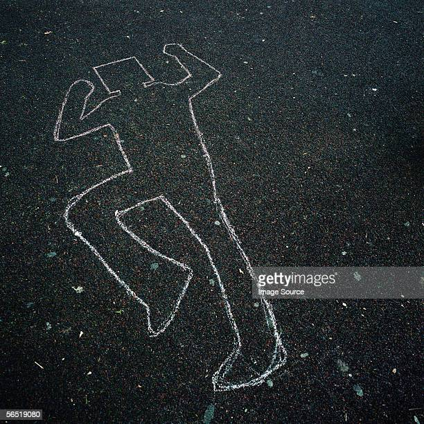 Chalk outline on floor