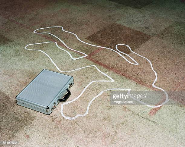 Chalk outline with a briefcase