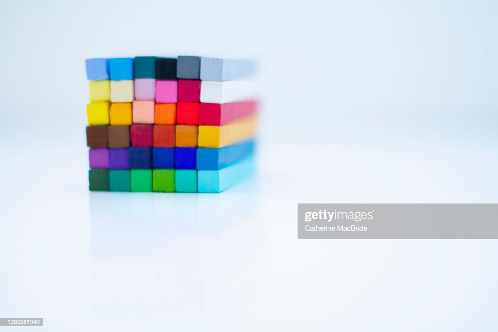 Chalk Pastels arranged in a cube : Stock Photo