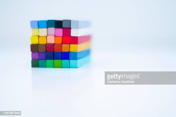 chalk pastels arranged in a cube - catherine macbride stock pictures, royalty-free photos & images