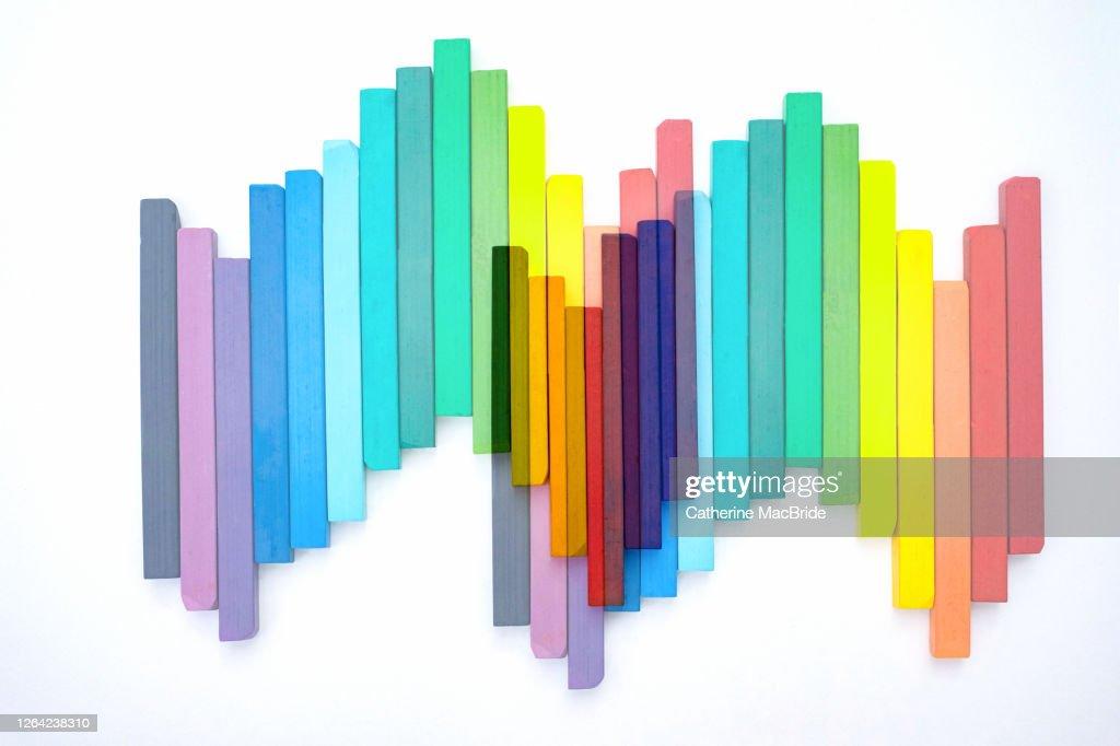 Chalk Pastels in an Zig Zag Pattern : Stock Photo