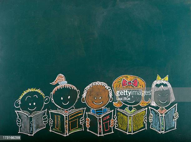Chalk sketch of multi-ethnic group of children
