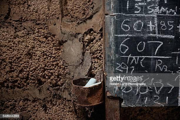 Chalk tally board in a shearing shed, Australia