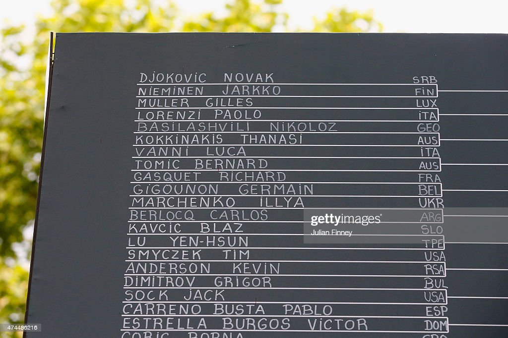 A chalkboard displays the first round draw ahead of the 2015 French Open at Roland Garros on May 23, 2015 in Paris, France.