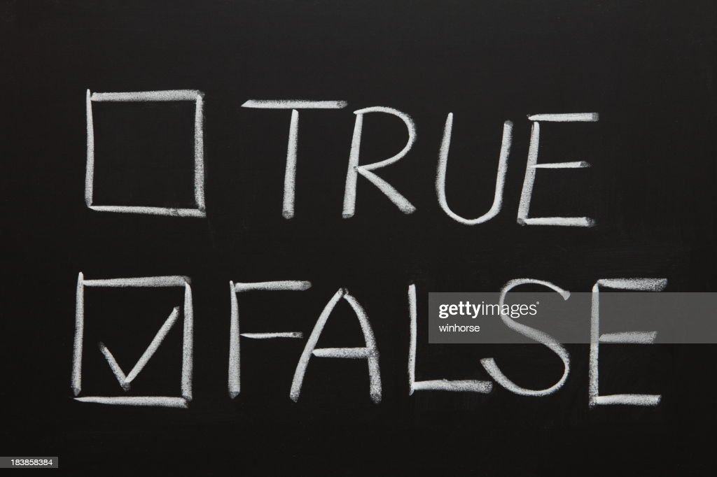 Chalkboard drawing of true and false with checkboxes : Stock Photo
