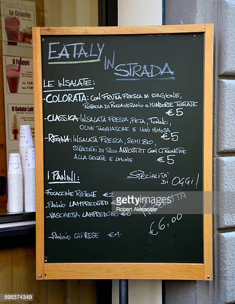 A chalkboard menu at the Eataly Italian restaurant and food marketplace in Florence Italy There are 27 Eataly locations in the world 10 are in Italy...
