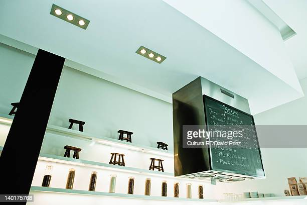 Chalkboard over restaurant bar