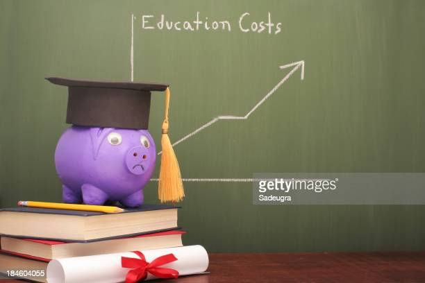 Chalkboard showing education costs graph with a piggy bank