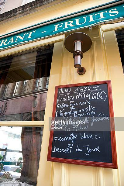 Chalkboard with typical choice of dishes in Lyon