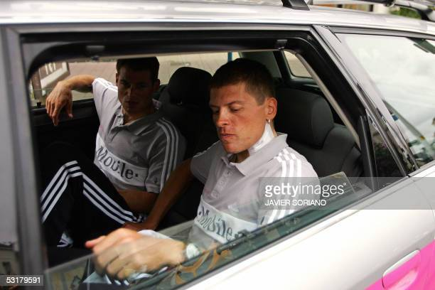 German Jan Ullrich injured after a fall during a morning training arrives by car in Challans for the presentation two days before the official start...