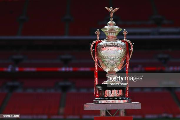 Challenge Cup Trophy on display during the Hull FC Captain's Run at Wembley Stadium on August 25 2017 in London England
