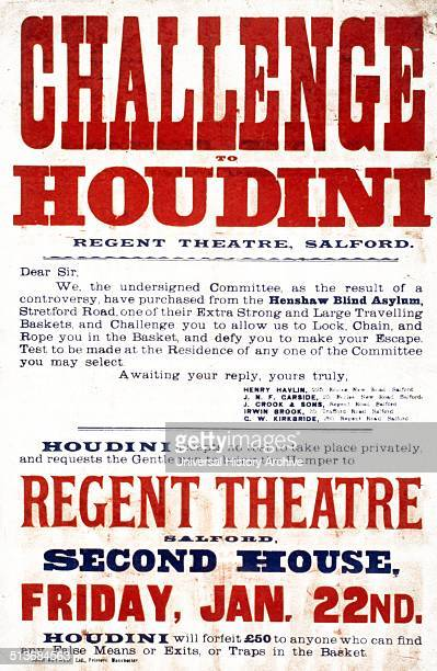 Challenge to Houdini Regent Theatre Salford 1904 Poster for show by the illusionist and escapologist Harry Houdini 18741926