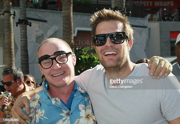 Challenge winner Jeff Nicholls and actor Geoff Stults attend Fox's The Finder Challenge at Hollywood Highland Courtyard on January 9 2012 in...