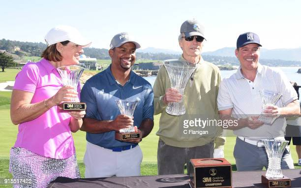3M challenge winners Juli Inkster Alfonso Ribeiro Clint Eastwood and Clay Walker are seen during practice of the 3M Celebrity Challenge At The PGA...