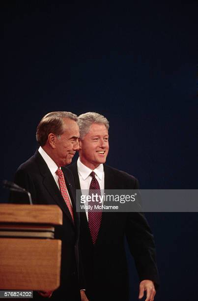 GOP challenger Bob Dole left closes with President Bill Clinton at a Presidential debate in Hartford CT in October 1996