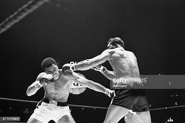 Challenger Cleveland Williams lands a left to champion Cassius Clay's head during first round action Clay won by a third round TKO to retain crown