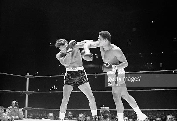 Challenger Cleveland Williams takes refuge behind a glove as champion Cassius Clay bores into the attack, in the 1st round here. Clay retained his...