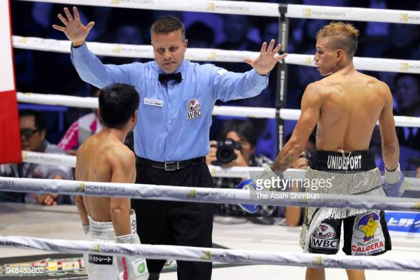 Challenger Cristofer Rosales of Nicaragua celebrates after beating former champion Daigo Higa of Japan in the 9th round of the WBC Flyweight Title...