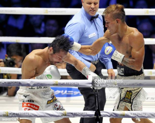 Challenger Cristofer Rosales of Nicaragua connects his right on former champion Daigo Higa of Japan in the 8th round of the WBC Flyweight Title Bout...