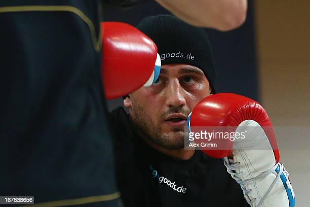 Challenger Francesco Pianeta exercises during the official training session ahead of his IBF, WBA, WBO and IBO World Championship fight against...