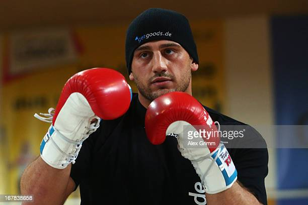 Challenger Francesco Pianeta exercises during the official training session ahead of his IBF WBA WBO and IBO World Championship fight against...