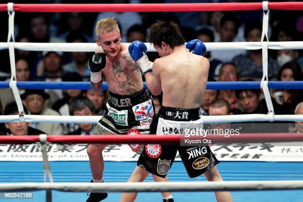 Challenger Hekkie Budler of South Africa punches champion Ryoichi Taguchi of Japan during the IBF WBA Light Flyweight Title Bout at Ota City General...