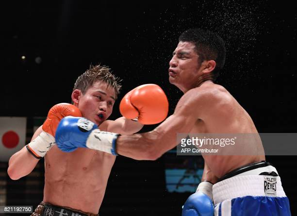 Challenger Hiroto Kyoguchi of Japan punches IBF mini flyweight champion Jose Argumedo of Mexico during their boxing title bout in Tokyo on July 23...