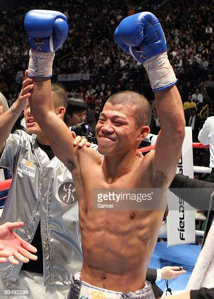 Challenger Koki Kameda celebrates the win over Daisuke Naito after the WBC flyweight title match at Saitama Super Arena on November 29 2009 in...