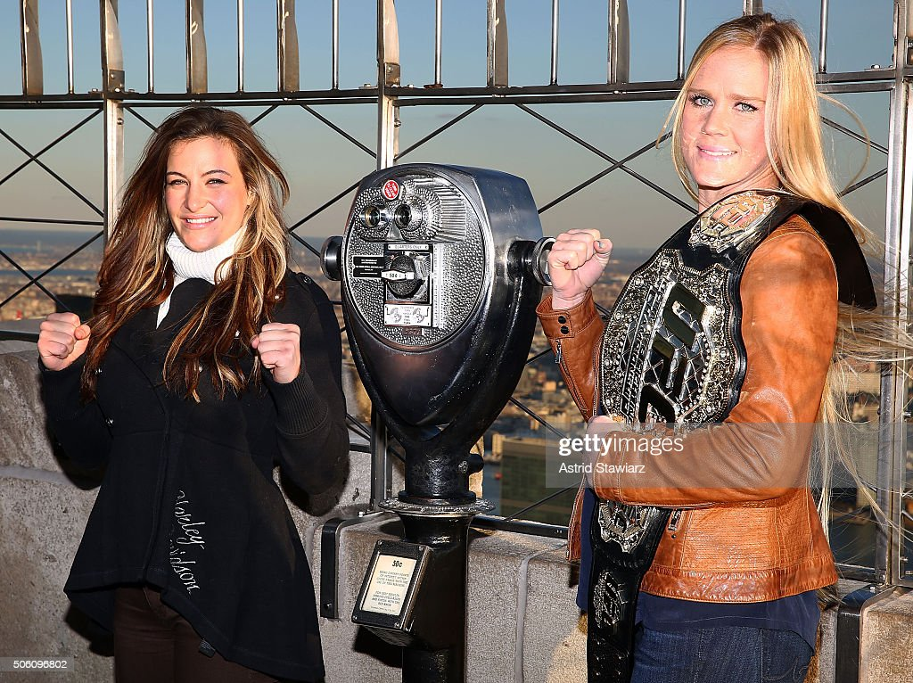 UFC Women's Bantamweight Champion Holly Holm & Challenger Miesha Tate Visit The Empire State Building