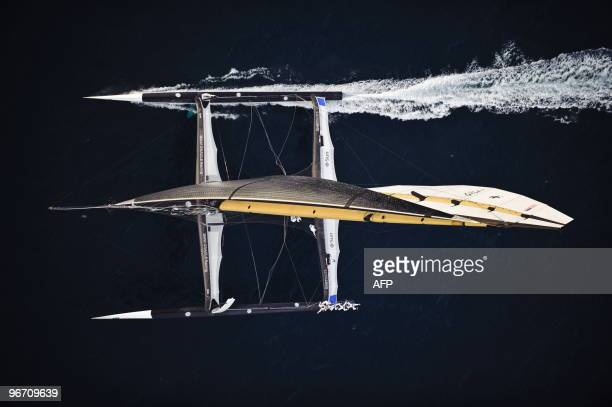 US challenger Oracle giant trimaran sails during the second race of the 33rd America's Cup on February 14 2010 off Valencia's coast US side Oracle...