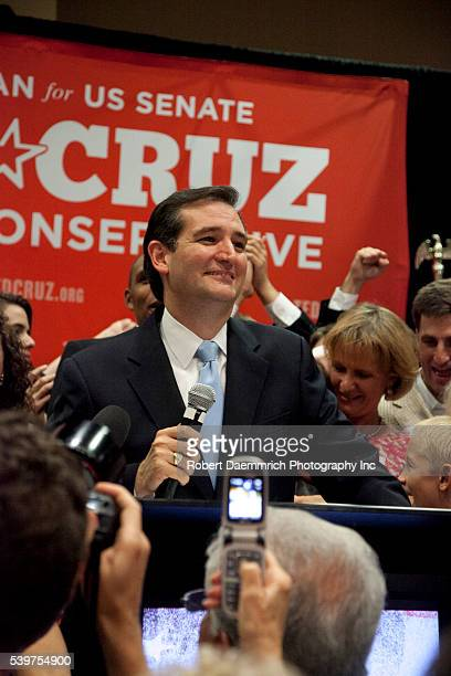 Challenger Ted Cruz gives a victory speech to cheering Texas supporters following his upset victory over Republican favorite David Dewhurst in a...