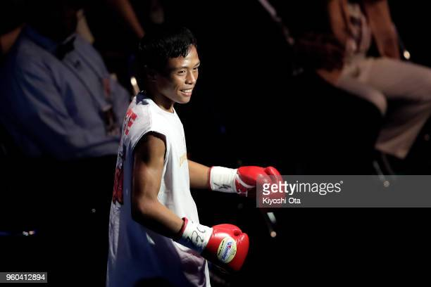Challenger Vince Paras of the Philippines approaches the ring during the IBF Minimumweight Title Bout against champion Hiroto Kyoguchi of Japan at...