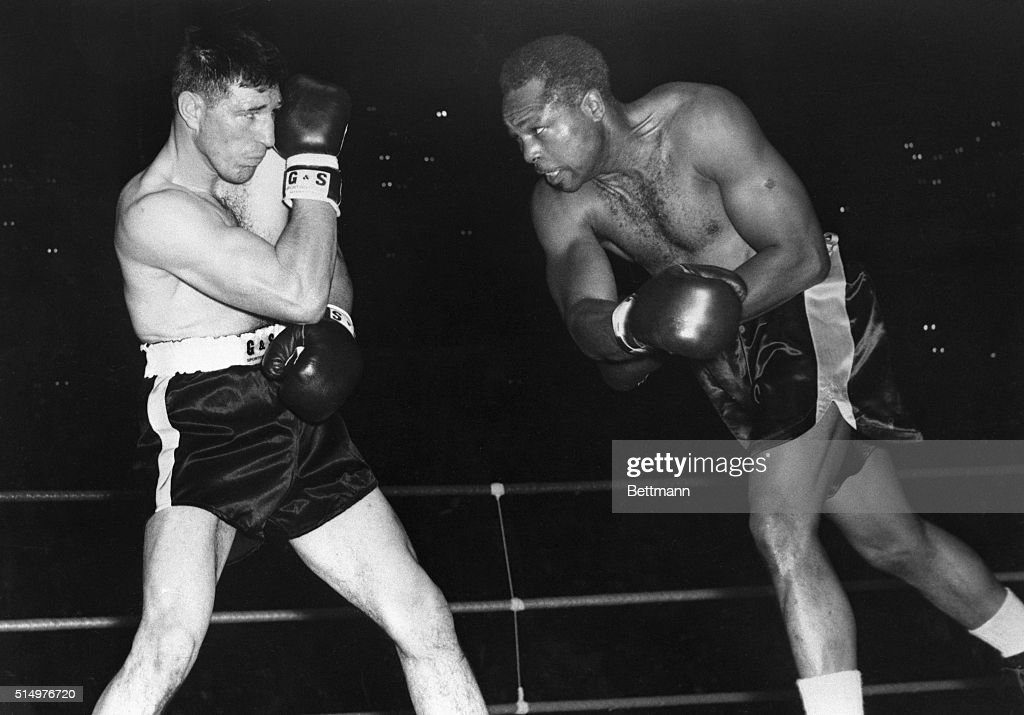Yvon Durelle and Archie Moore in Boxing Action : News Photo