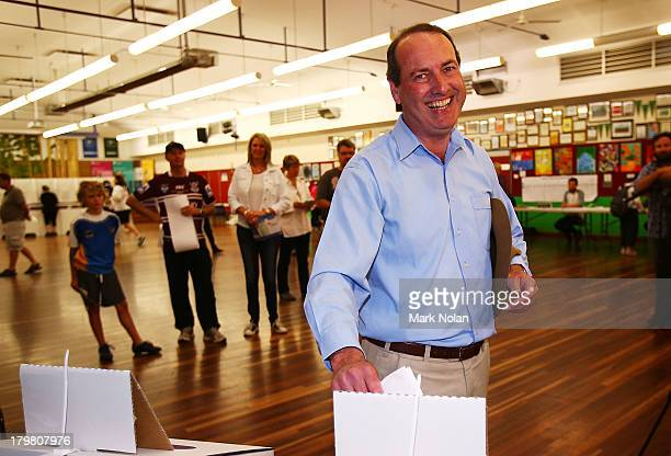 Challenging member for EdenMonaro Peter Hendy of the Liberal party votes at Jerrabomberra Public School in the electorate of EdenMonaro on election...