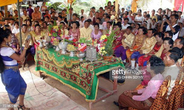Unable to be officially married under Pol Pot's regime, ten Cambodian couples prepare for their first traditional wedding at Cham Bak commune, Baty...