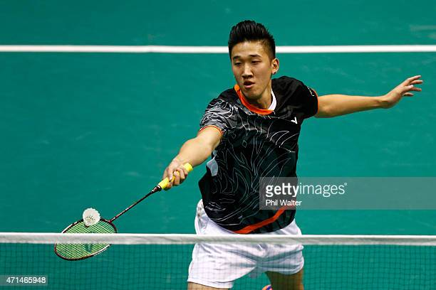 Cham Chen of Australia plays a return to Alphonsus Ng of Australia during their mens singles match in the 2015 Badminton Open at the North Shore...