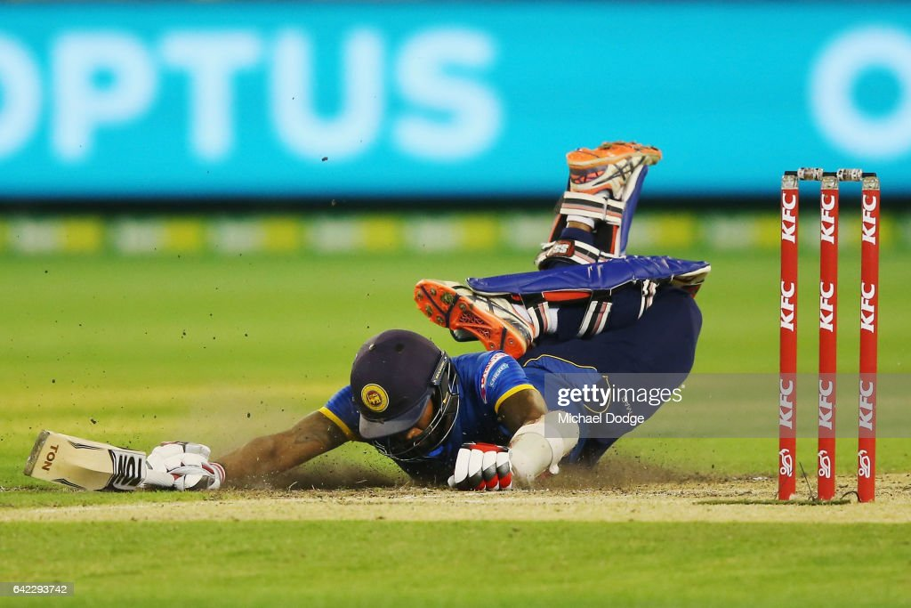 Chamara Kapugedera makes his ground in the dying stages during the first International Twenty20 match between Australia and Sri Lanka at Melbourne Cricket Ground on February 17, 2017 in Melbourne, Australia.