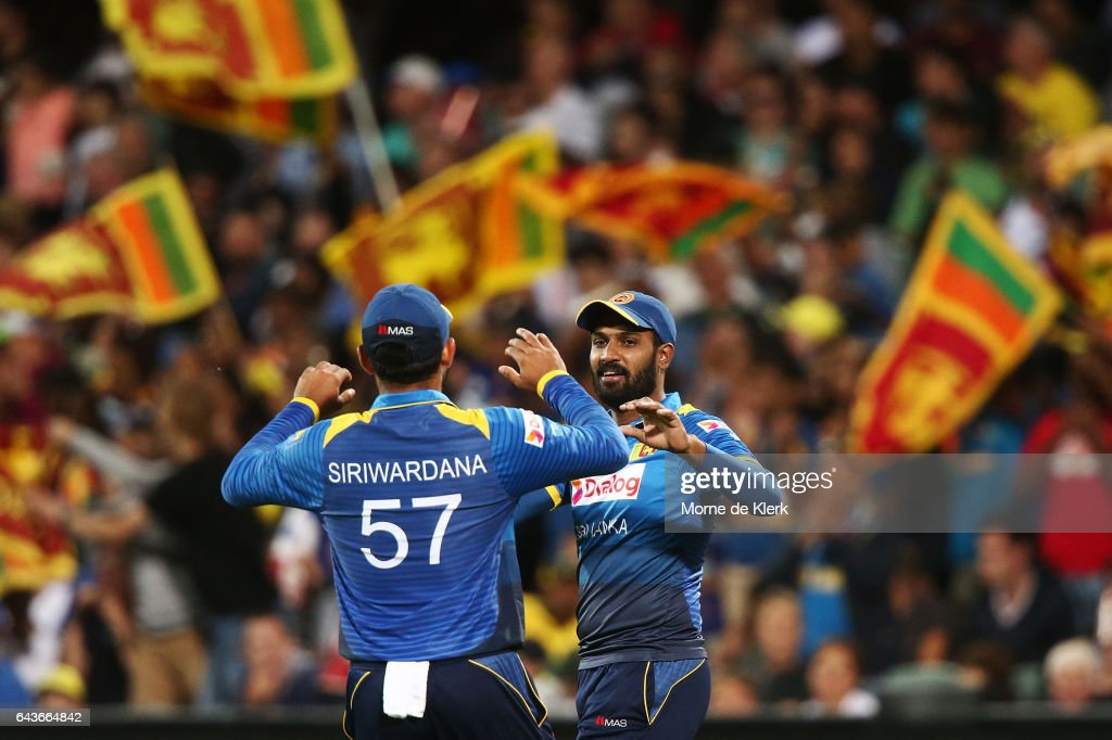 Chamara Kapugedera of Sri Lanka celebrates after taking a catch to get the wicket of Travis Head of Australia during the International Twenty20 match between Australia and Sri Lanka at Adelaide Oval on February 22, 2017 in Adelaide, Australia.