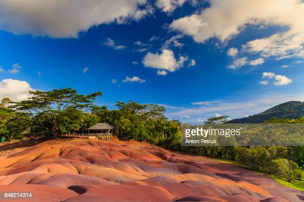 chamarel seven sands on mauritius island - mauritius stock photos and pictures