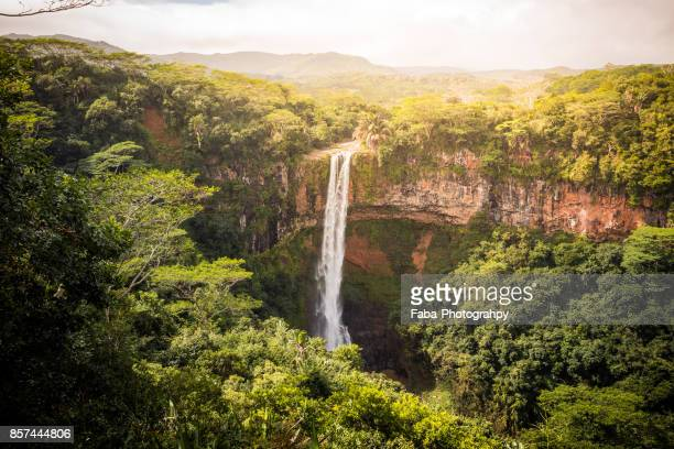chamarel waterfall - mauritius stock photos and pictures
