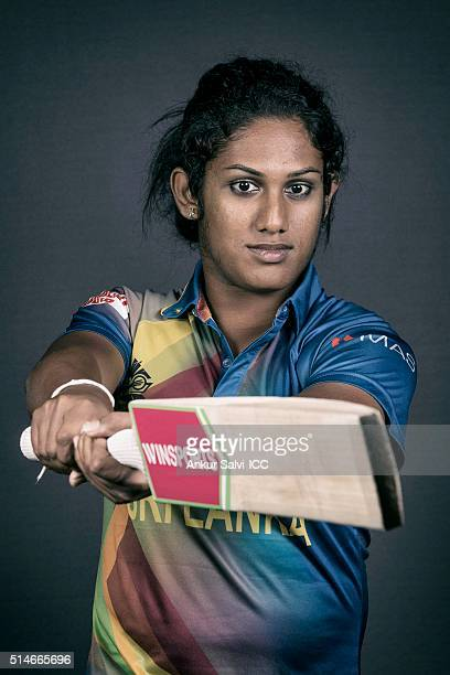 Chamari Atapattu during the photocall of the Sri Lanka team ahead of the Women's ICC World Twenty20 India 2016 on March 9 2016 in Bangalore India